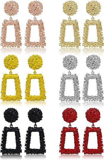 6 Paires de Boucles Doreilles Pendantes G/éom/étriques en Or Rose//Argent pour Femmes et Filles