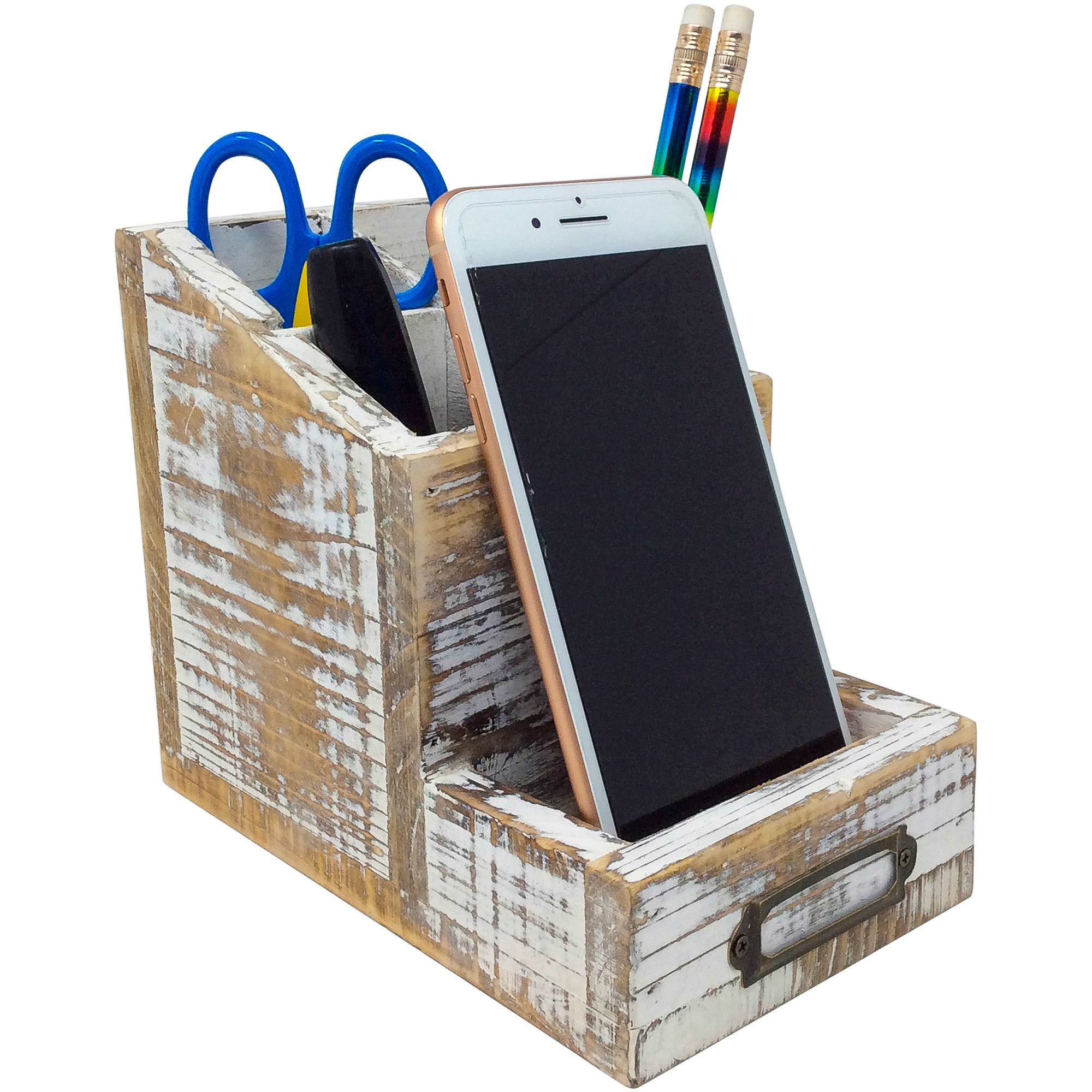 Rusoji Country Rustic Torched Wood Cell Phone Stand and 4 Slots Pen Pencil Holder Office Supply Storage Organizer with Label Holder, Brown