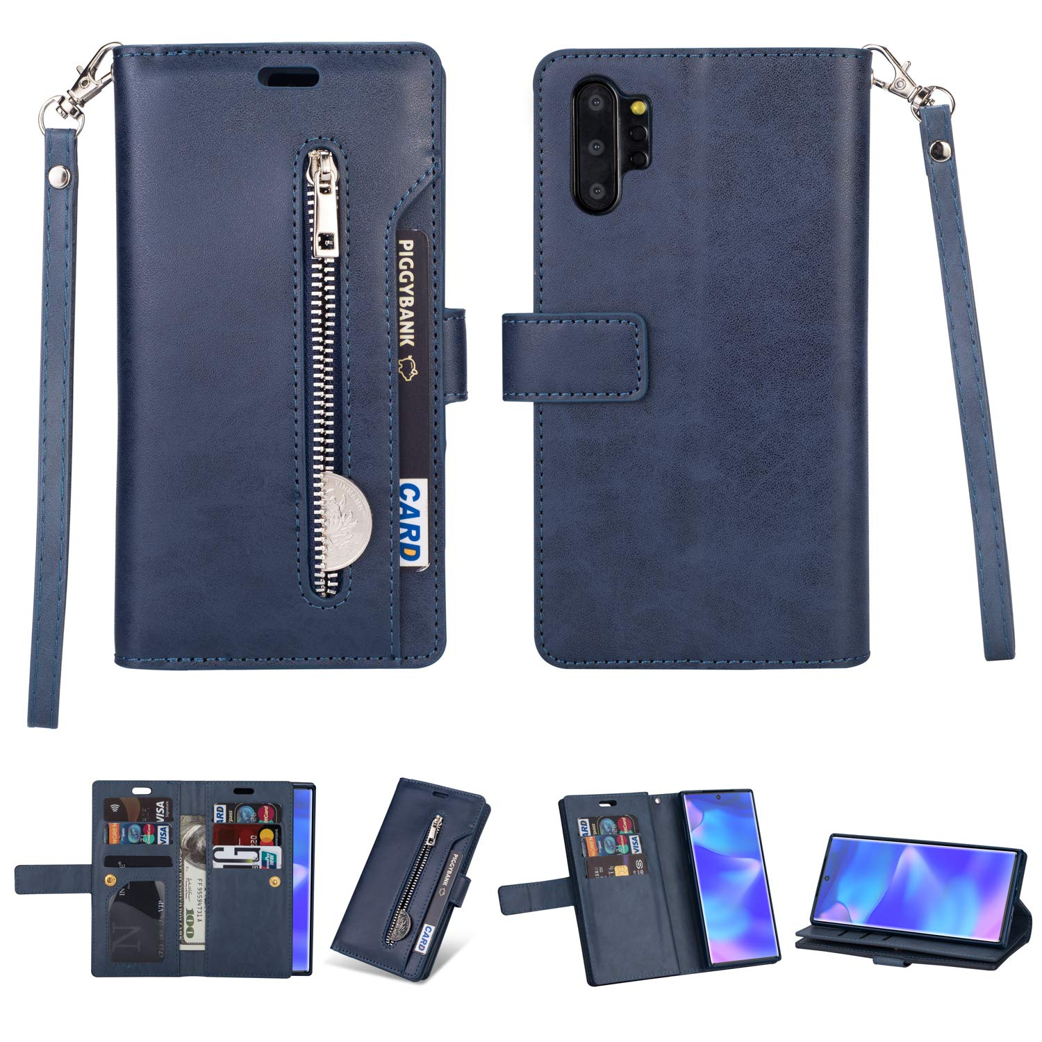DAMONDY for Samsung Note 10 Plus Case,Zipper Stand Wallet Purse 9 Card Slot ID Holders Design Flip Cover Pocket Purse Leather Magnetic Protective for Samsung Galaxy Note 10 Plus-deep Blue by DAMONDY