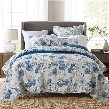 Topmail Colchas Cama 135 Azul Estampada 3 Piezas Colcha Bouti Reversible Lavable de 100% algodón Suave y Cómodo 230x250cm: Amazon.es: Hogar