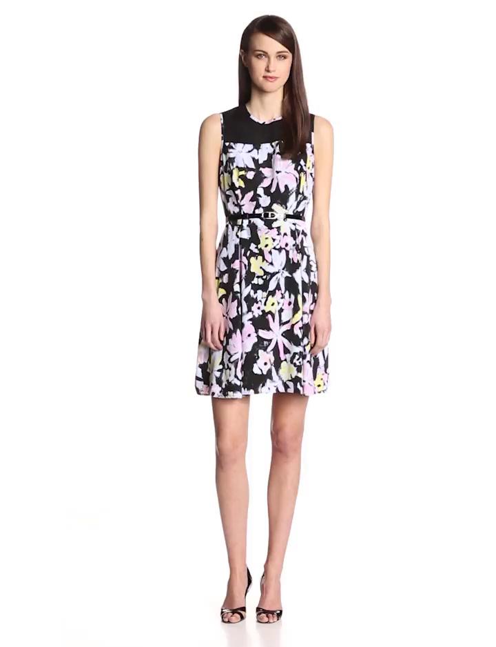 Marc New York by Andrew Marc Women's Power Flower Dress, Multi, 14