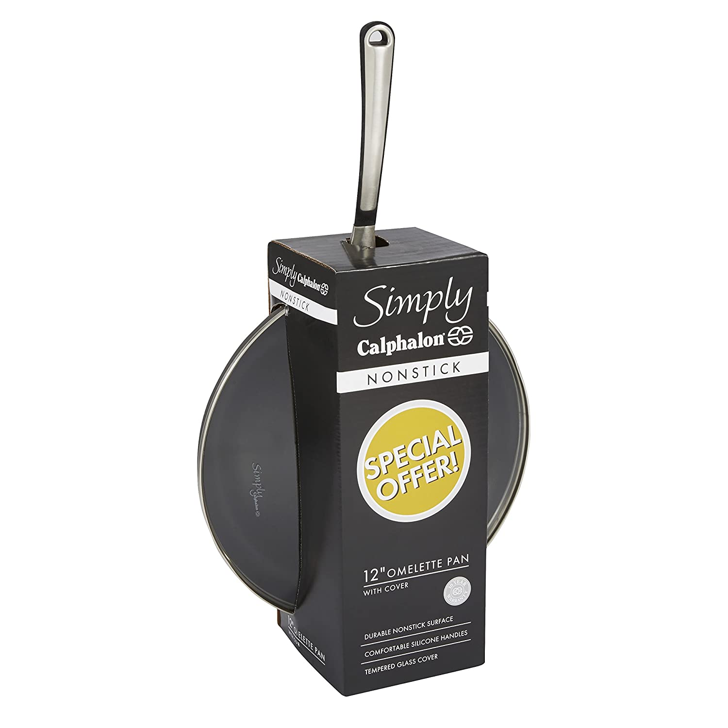 Simply Calphalon 12-Inch Nonstick Covered Omelette Pan