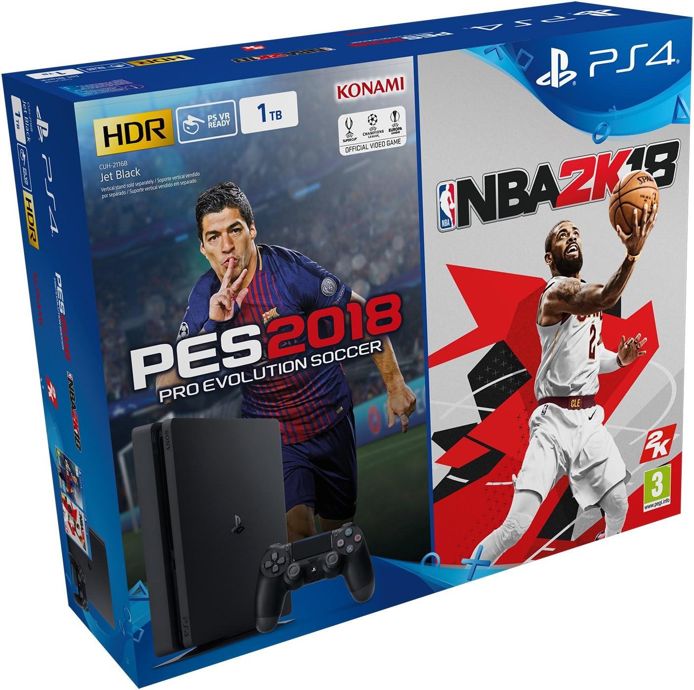 PlayStation 4 - Bundle Consola De 1 TB + PES 2018 + NBA 2018 ...