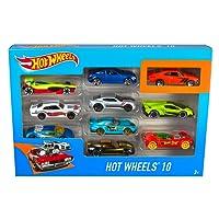 Hot Wheels Coffret 10 véhicules, jouet pour enfant de petites voitures miniatures, modèle aléatoire, 54886
