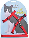 Adjustable Cat Harness Nylon Strap Collar with Leash Black PUPTECK