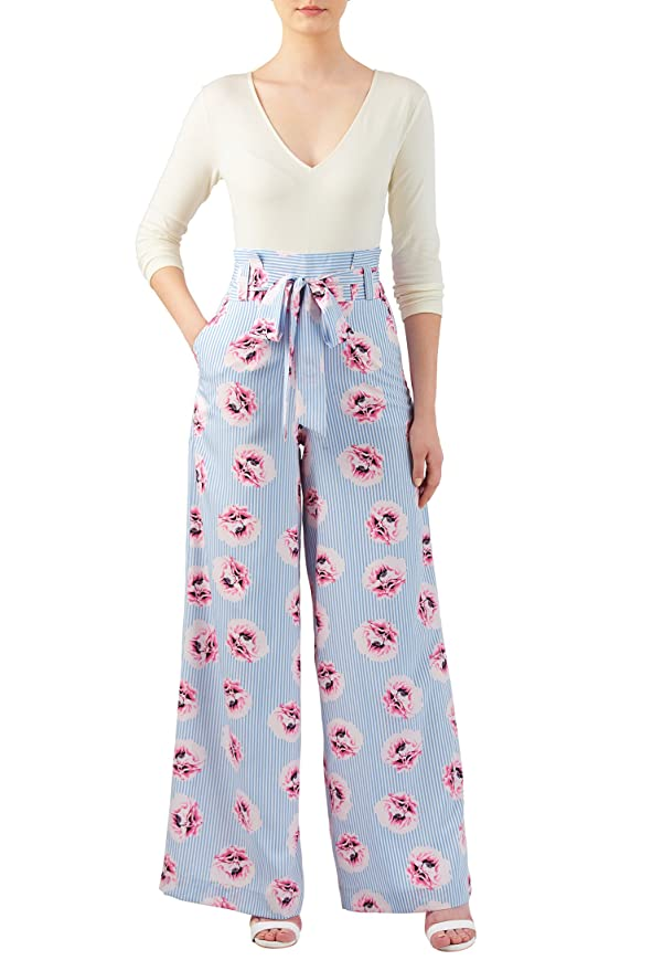 Retro Pants & Jeans eShakti Womens Floral stripe print mixed media jumpsuit $56.95 AT vintagedancer.com
