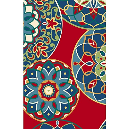 MISC 5ft Bench Cushion Only 60 Red Blue Bohemian Floral Flowers Garden Outdoor Porch Swing Pad Indoor Window Seat Cushion Rectangle Shaped Patio Seating All-Weather, Polyester