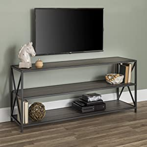 "WE Furniture AZS60XMWSG Bookcase, 60"", Slate Grey/Black Metal"