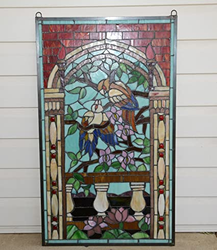 Large Tiffany Style Stained Glass Window Panel Love Bird Two Parrots On The Tree Sports Outdoors