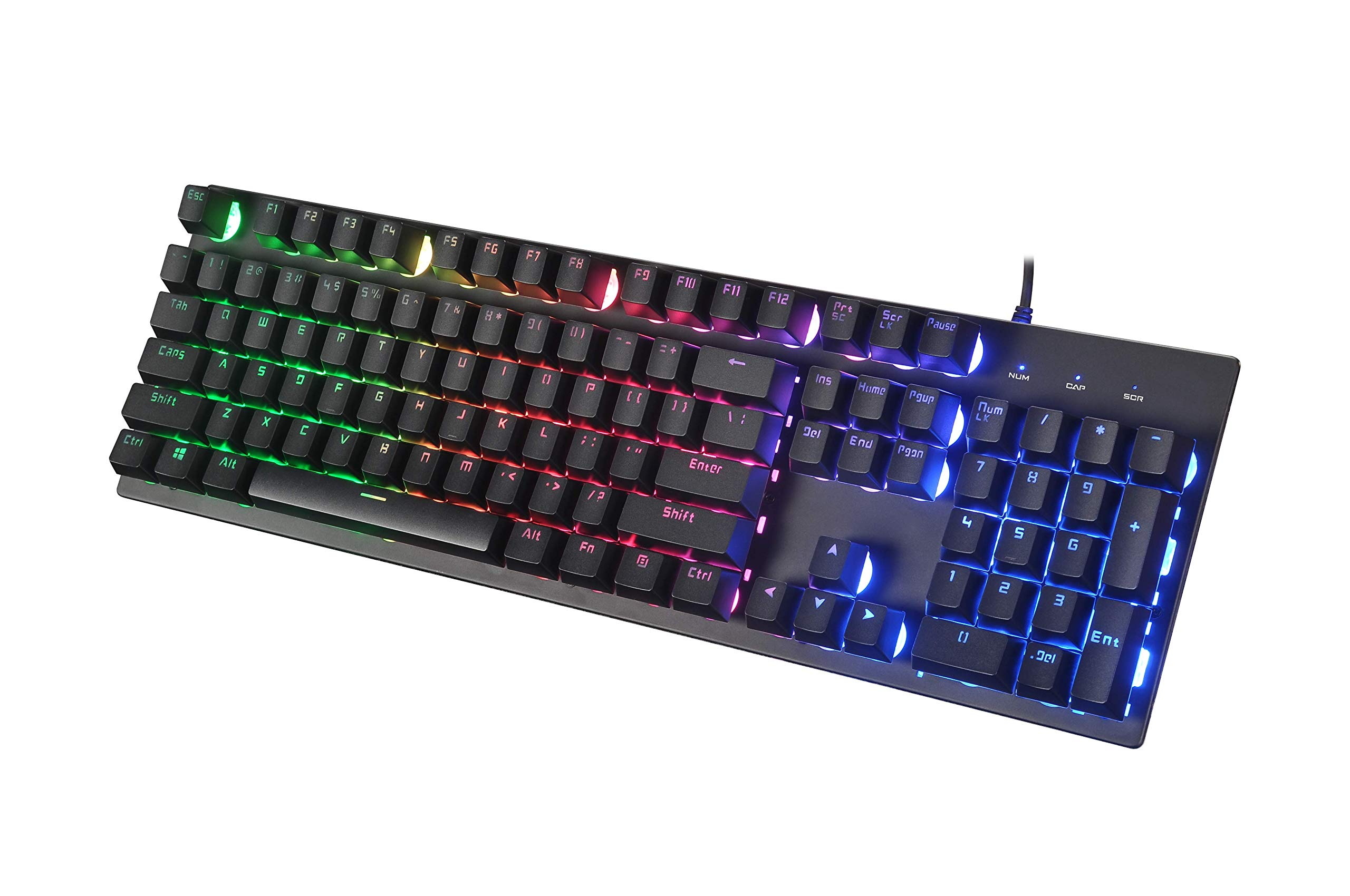Gaming Keyboard - Ergonomic Design Mechanical Feeling Keyboard with Rainbow LED Backlit, Non-Slip and Spill-Resistant for Gaming and Working