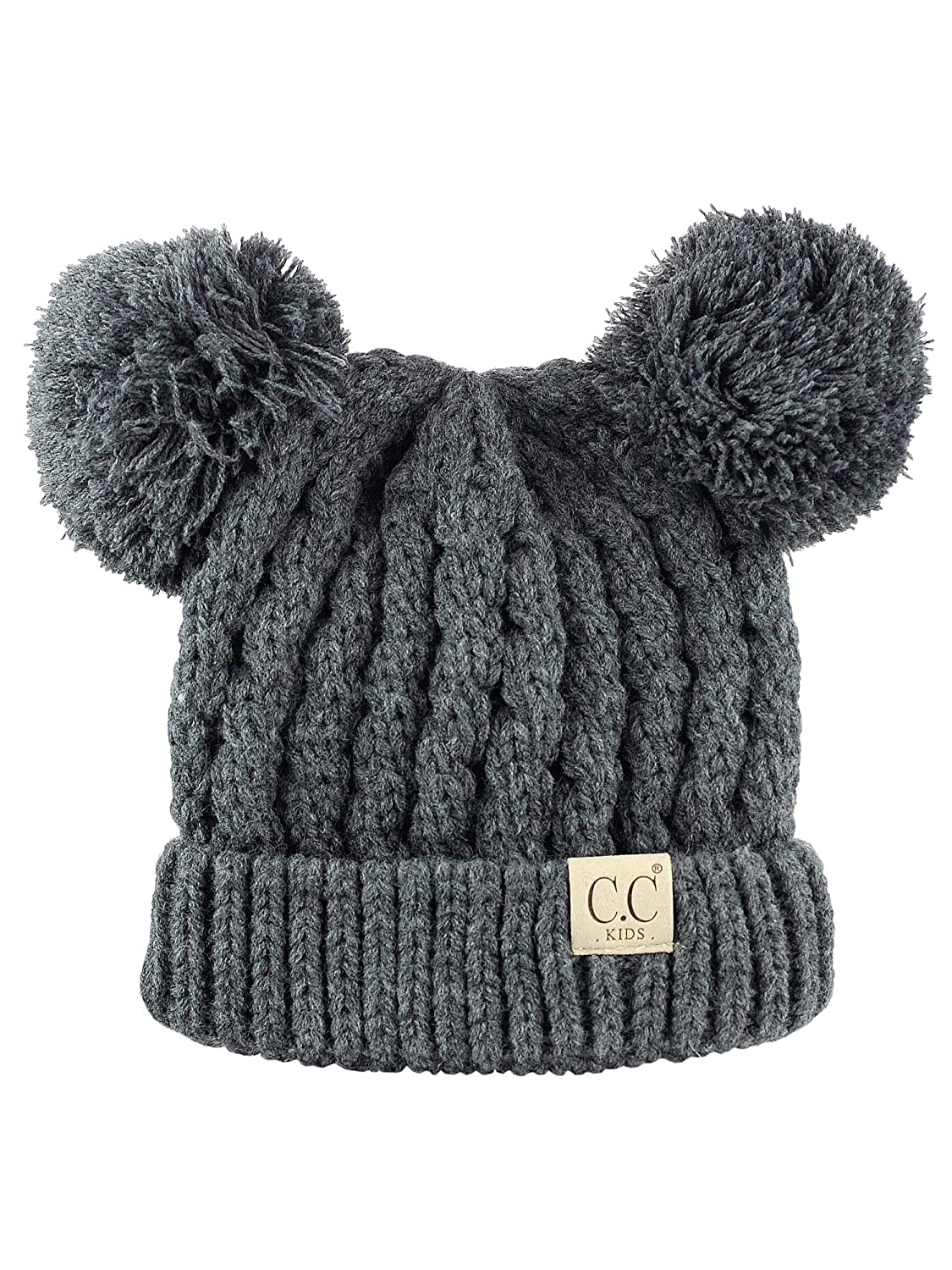 9a23e27a1ee61 C.C Kids  Children s Cable Knit Double Ear Pom Cuffed Beanie Cap Hat KIDS  24-