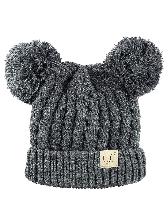C.C Kids' Children's Cable Knit Double Ear Pom Cuffed Beanie Cap Hat KIDS 24-BEIGE