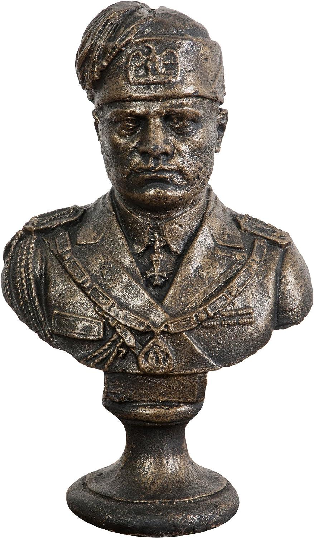 Mezzo busto del duce mussolini in ghisa finitura bronzata anticata 20x13x32 cm G0492