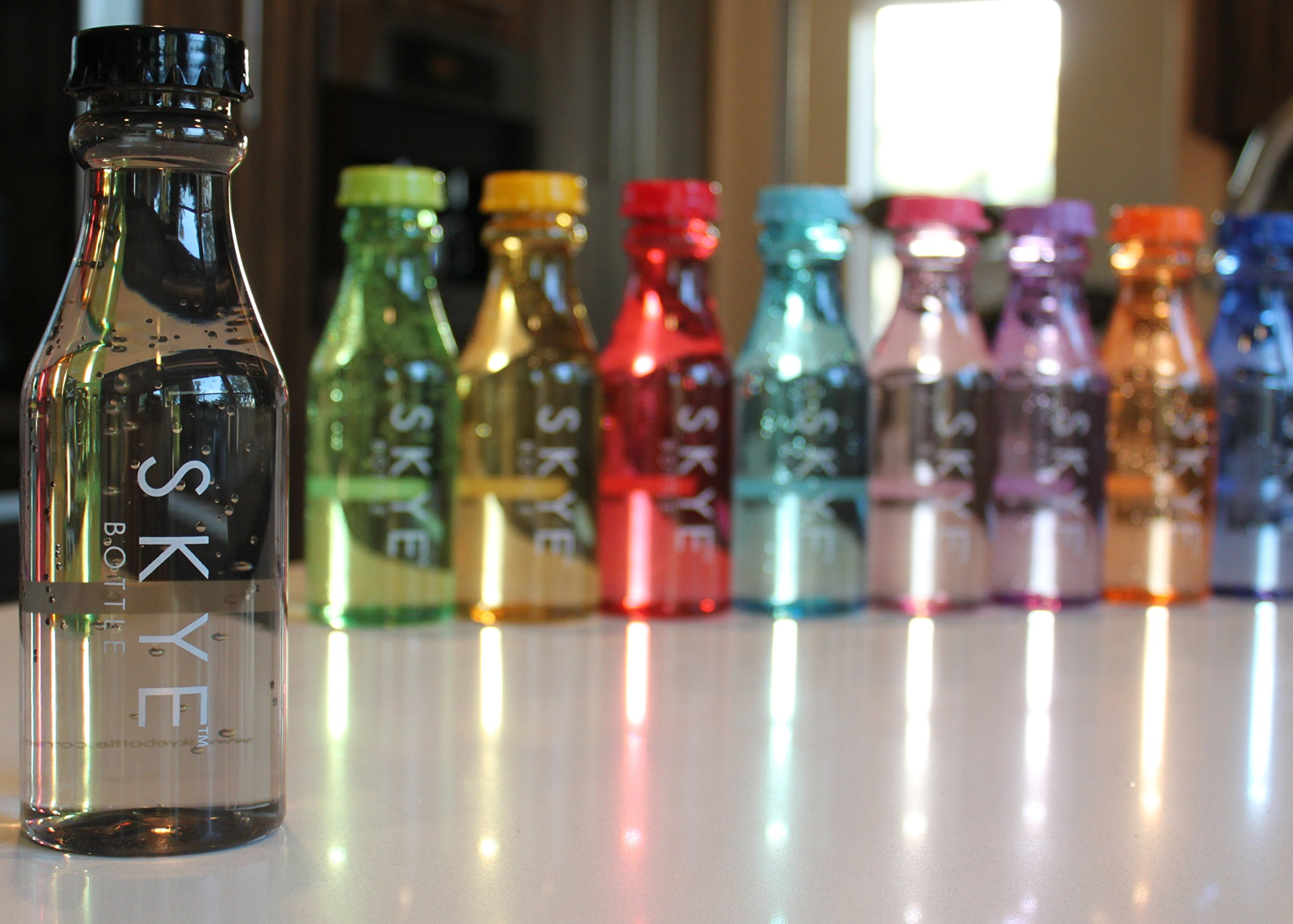 THE COOLEST WATER BOTTLE IN THE WORLD Frosted /& Transparent Soda Bottle Leak Proof BPA Free Sport Wide Mouth Blue Pink Green Black Purple Orange Yellow Red- For Kids Boys Girls Men Women Infuse with Fruits or Ice for Office Gym Beach Summe SKYE Bottle