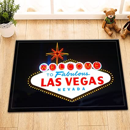 LB Las Vegas Neon Light Billboard Welcome Sign Indoor Rugs Small, Machine Washable Flannel Surface