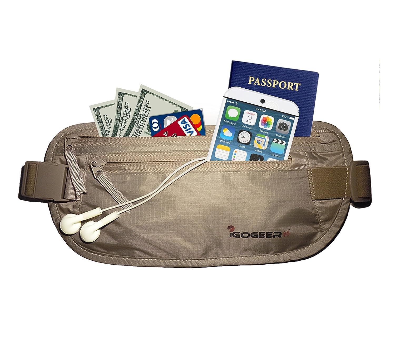 IGOGEER Money Belt Deluxe w//RFID Wallet Travel Wallet Passport Holder Belt Stash IGOT1011