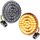 2' 1156 Rear Harley Amber LED Turn Signal Tail Light [Pair Set] [Black-Finish] [Bullet Style] Turn Signals For Harley…