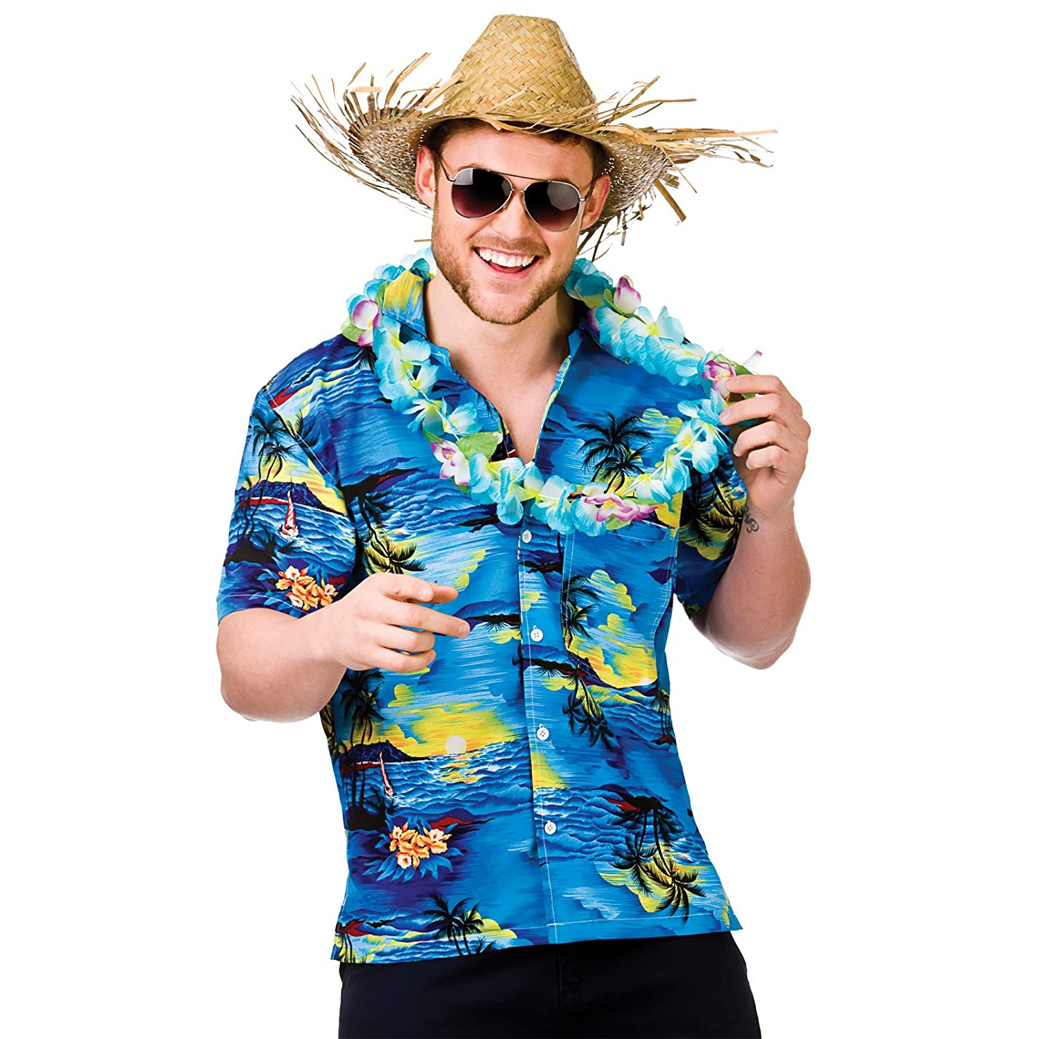 Hawaiian Shirt (Blue Palm Trees) - Adult Accessory Man: S (37\