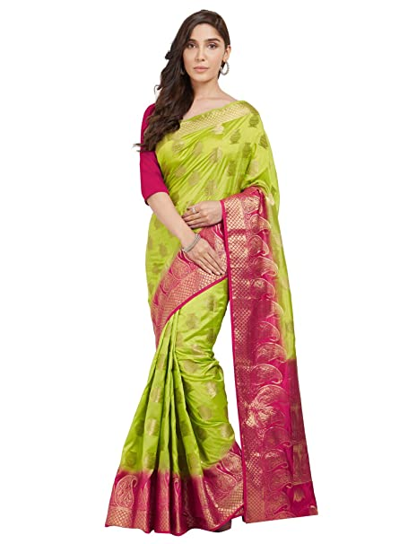 879e1a0661885c Trendy Store Parrot Green and Pink Color Woven Banarasi Silk Saree With  Blouse Piece  Amazon.in  Clothing   Accessories