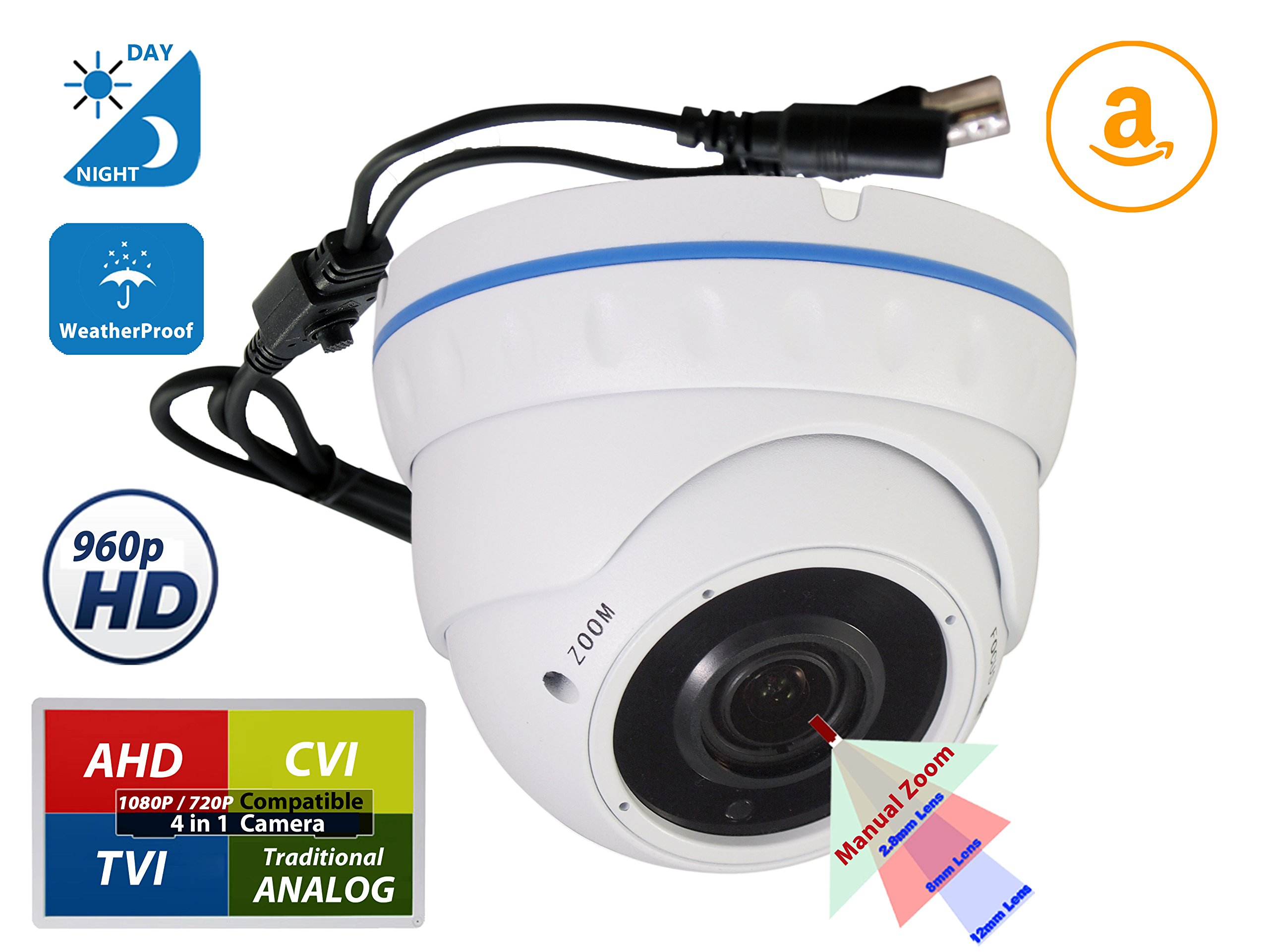 Evertech Varifocal CDM368IRV CCTV Security Camera(White) Day and Night Indoor Outdoor 700 TV Lines, 2.8 - 12 mm Adjustable Zoom Lens