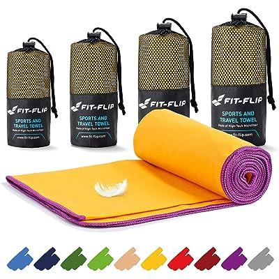 Fit-Flip Toalla de Microfibra – en Todos los tamaños / 18 Colores – compacta & Ultraligera Toalla de Viaje y Toalla Microfibra Gimnasio (Set2: 80x160cm x 40x80cm Amarillo - Borde Violeta)