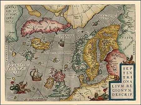 Cartina Norvegia Da Stampare.Riproduzione Antica Mappa Di Abraham Ortelius D Europa Svezia Norvegia Finlandia 44 X 33 Cm Amazon It Cancelleria E Prodotti Per Ufficio