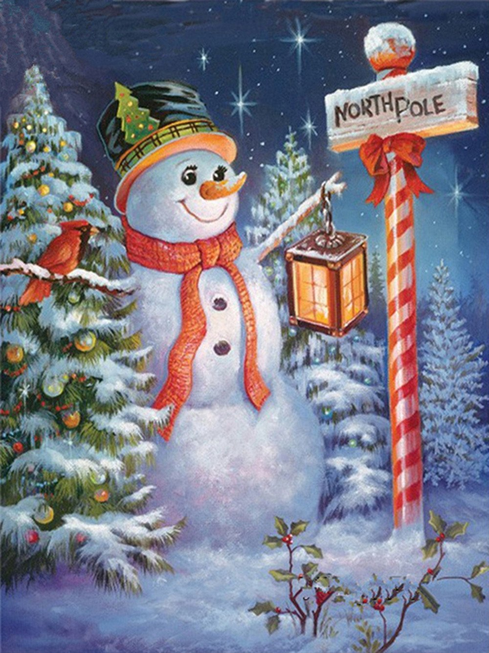 Christmas Snowman Diamond Painting Kits Full Drill,uBabamama DIY 5D Diamond Painting Kits Rhinestone Crystal Embroidery Pictures Cross Stitch Art Craft Decor for Home
