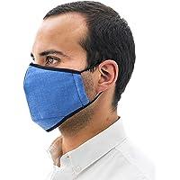 Paquete de 5 cubrebocas Helsa Mask (Adulto), 5 capas, color azul, reutilizable, ecológico, tela SMS, tecnología alemana, Segunda Generación