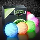 PalliPartners 6 pcs Glow Dark Golf Balls Bulk Light Up LED Golf Light Balls Night Sports Glow Dark Golf Balls for Men Multi C