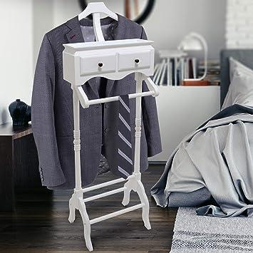 Miadomodo Valet de Chambre en Bois   45x28x125cm, 2 Tiroirs, Blanc   Valet  de Nuit pour Les Hommes, Porte-Vêtement, Chevalet de Chambre