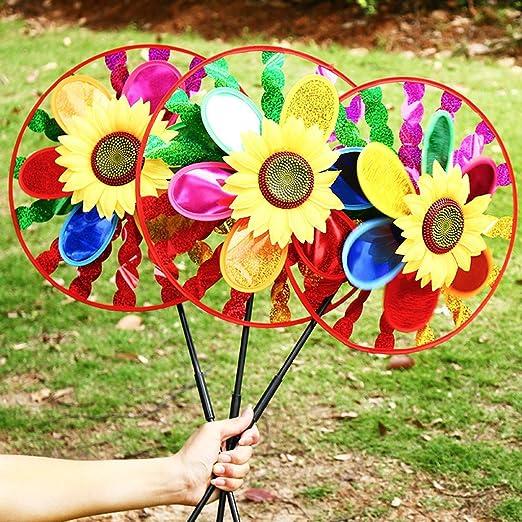 Molino De Viento Yifeicx Colorido Girasol Spinner Home Garden Jardin Decoracion De Juguete De Los Niños: Amazon.es: Jardín