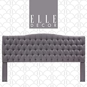 Elle Decor Upholstered Padded Headboard with Contemporary Button Tufting, Soft Velvet-Textured Fabric, King, Gray