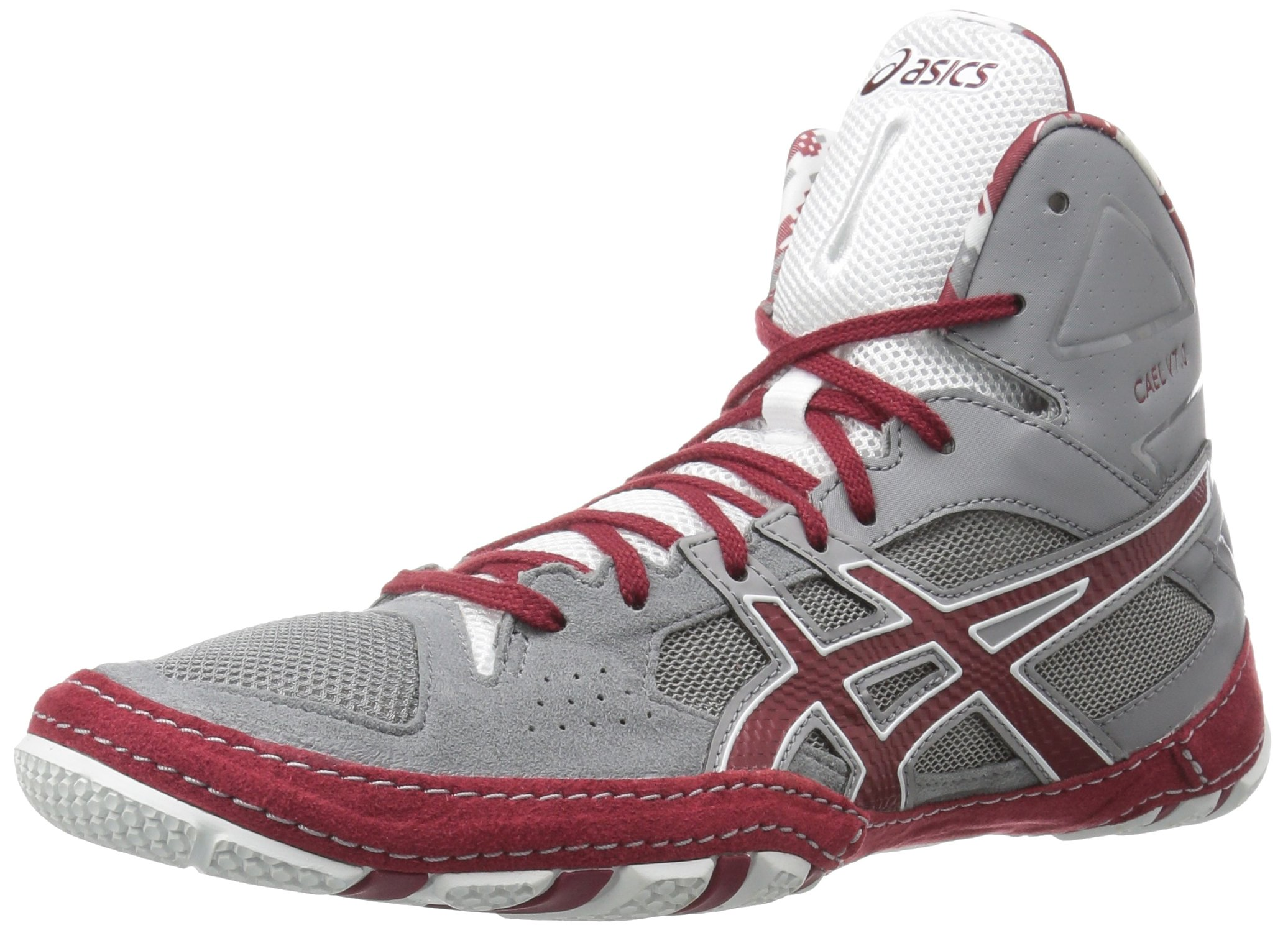 ASICS Men's Cael V7.0 Wrestling-Shoes, Aluminum/Burgundy/White, 12 Medium US