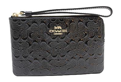 e5caf08147bd6 Coach F58034 Black Signature Debossed Patent Leather Corner Zip Wristlet