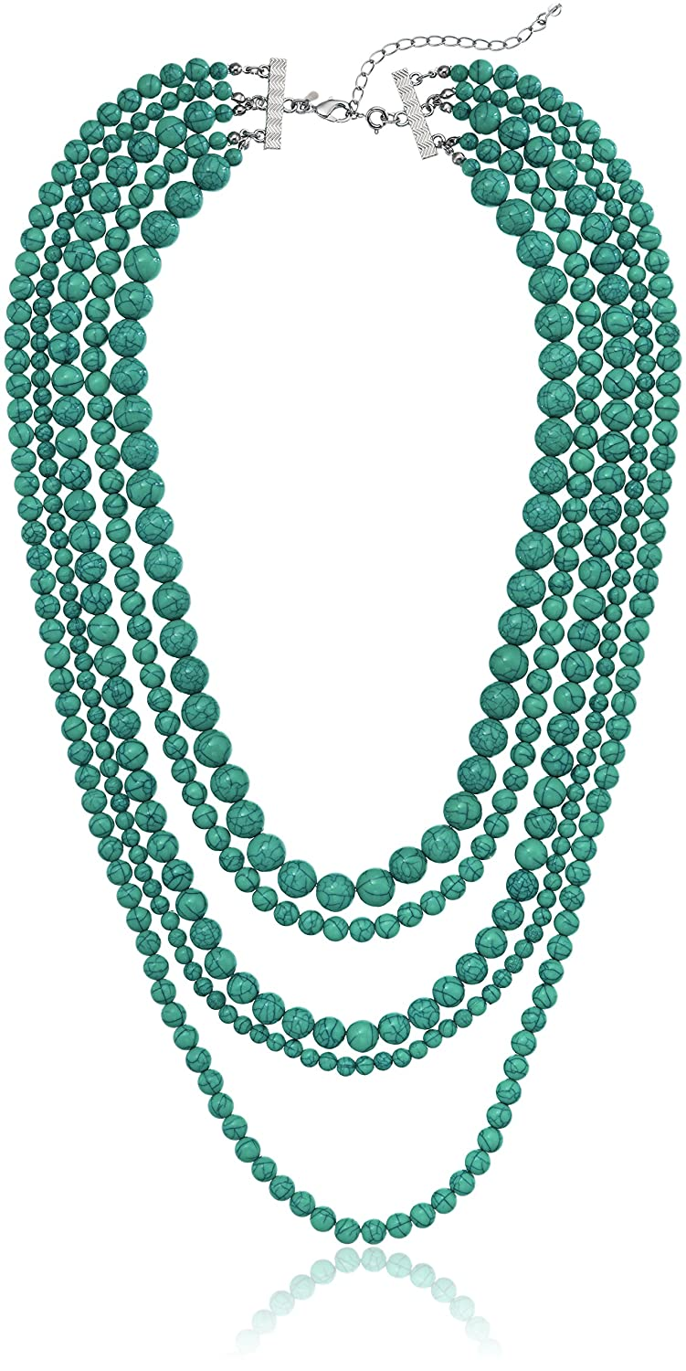 Blue Turquoise Stone 5-Row Multi-Beaded Strand Necklace, 32+3 Extender 32+3 Extender Amazon Collection 23862809