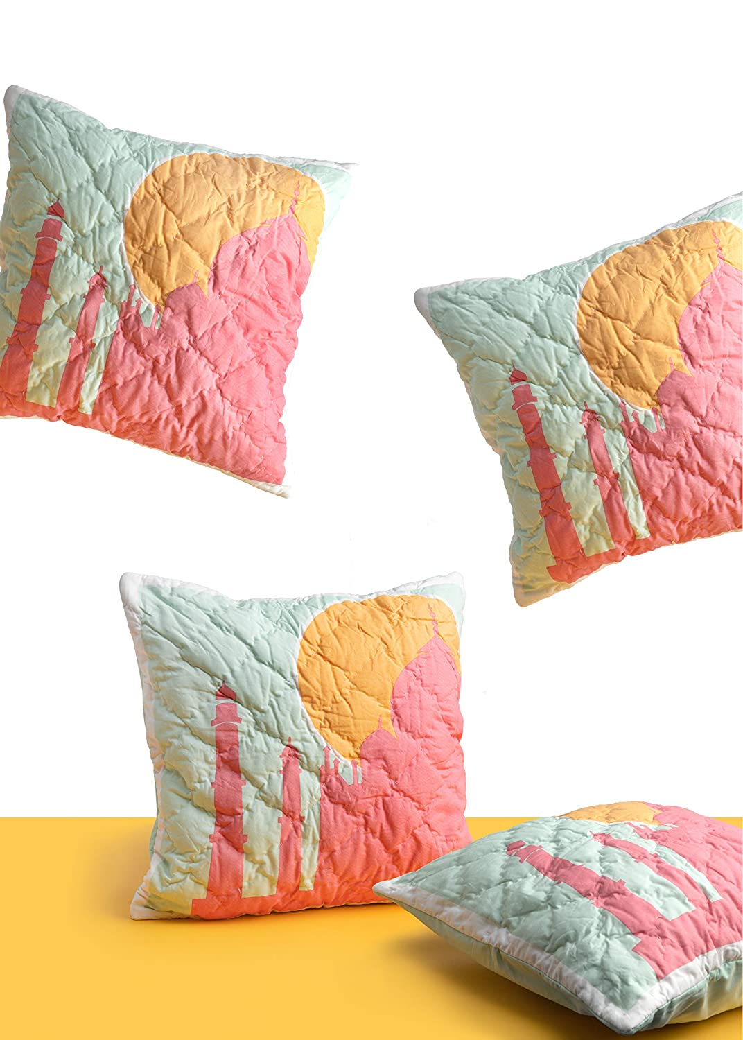 Neck Pillow Cover 86 x 68 Pink Guppy Girls 100/% Cotton Hot Pink /& Blue Duvet Cover for Twin Bed Quilted Taj Mahal Throw Pillow 16x 16 6 x 16 with Paisley Faces 3 Piece Bedding Set