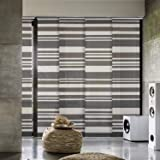 """GoDear Design Deluxe Adjustable Sliding Panel Track Blind 45.8""""- 86"""" W x 96"""" H, Extendable 4-Rail Track, Trimmable Pleated Natural Woven Fabric, Steel"""