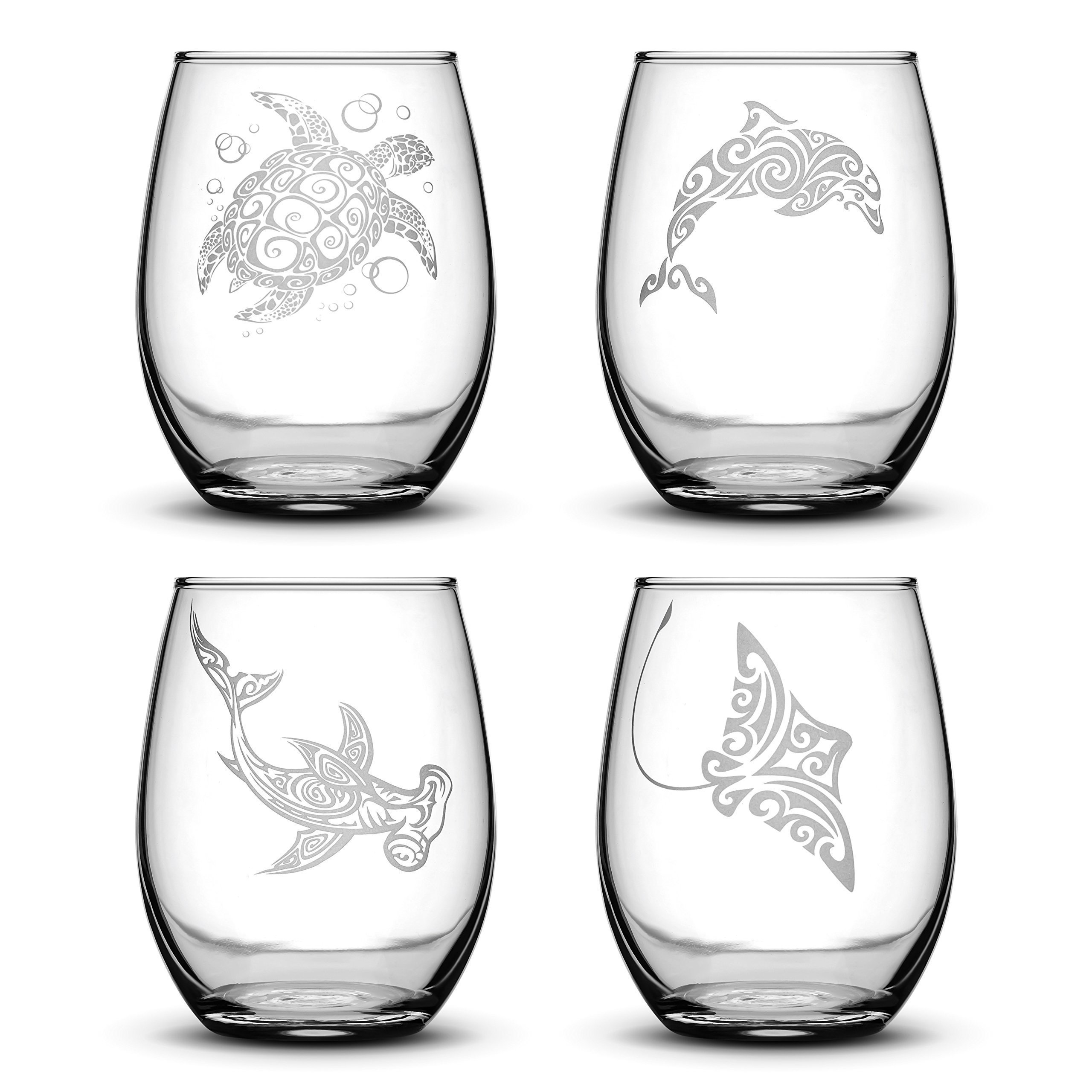 Set of 4, Sea Animal Stemless Wine Glass, Sea Turtle, Dolphin, Hammerhead Shark, Eagle Ray, Made in USA, Tribal Design, Hand Etched 14.2 oz Unique Gifts, Sand Carved by Integrity Bottles