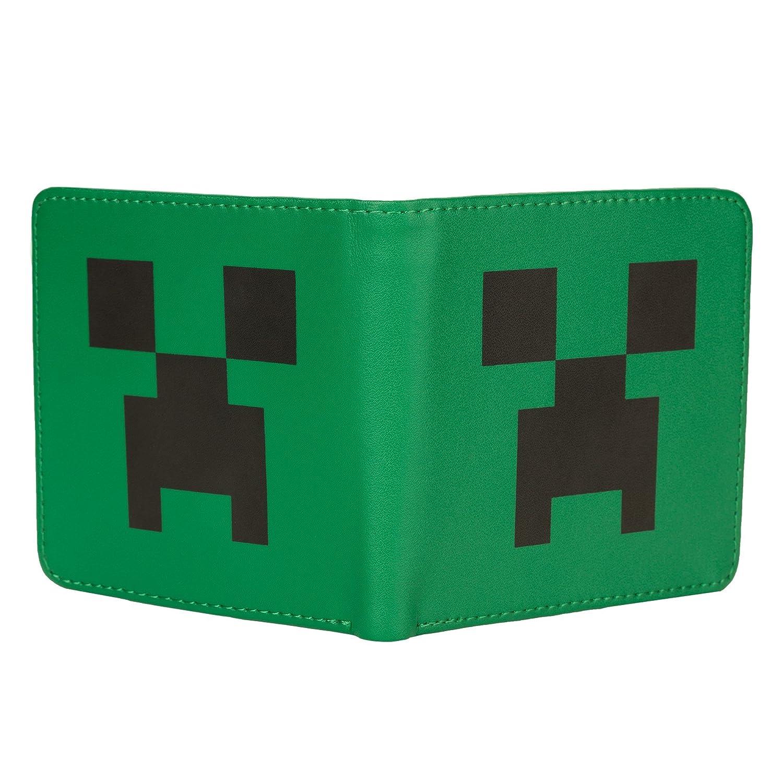d285a0575c6a Amazon.com  JINX Minecraft Creeper Face Leather Bi-Fold Wallet ...
