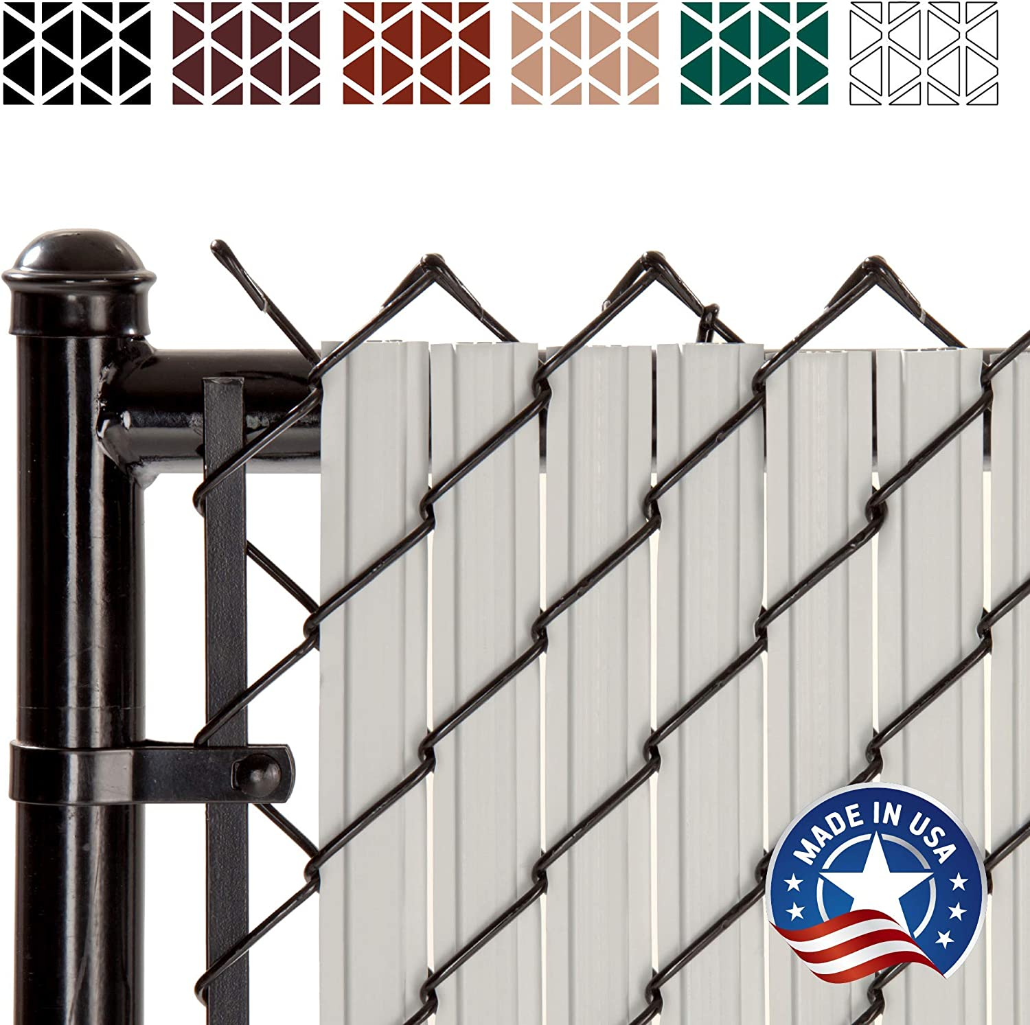 SoliTube Slat Privacy Inserts for Chain-Link Fence Double-Wall Vertical Bottom-Locking Slats with Wings for 6 Fence Height Gray