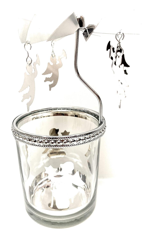 Photophore teelichtkarussel ange argent-verre Flippi
