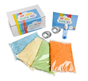 Bath Bomb Kit For Girls - DIY by Chameleon - Pre-Mixed - It's Easy. Make Your Own Bath Crafts In Minutes With All The Deluxe Ingredients for 12 Big Fizzy Bombs