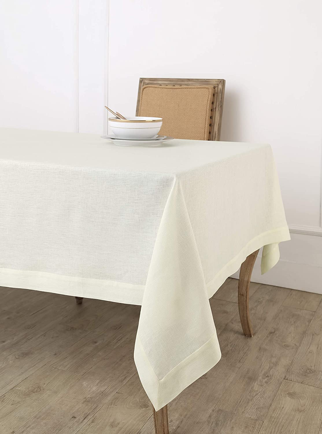 Solino Home 100% Pure Linen Tablecloth - 60 x 90 Inch Ivory, Natural Fabric, European Flax - Athena Rectangular Tablecloth for Indoor and Outdoor use