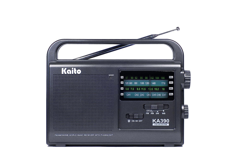 Kaito KA390 Portable AM/FM Shortwave NOAA Weather Radio with LED Flashlight, Color Black