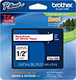 "Brother Genuine P-touch Tze-232 Label Tape 1/2"" (0.47"") Standard Laminated P-touch Tape, Red on White, Laminated for Indoor or Outdoor Use, Water Resistant, 26.2 Feet (8M), Single-Pack (TZe232)"