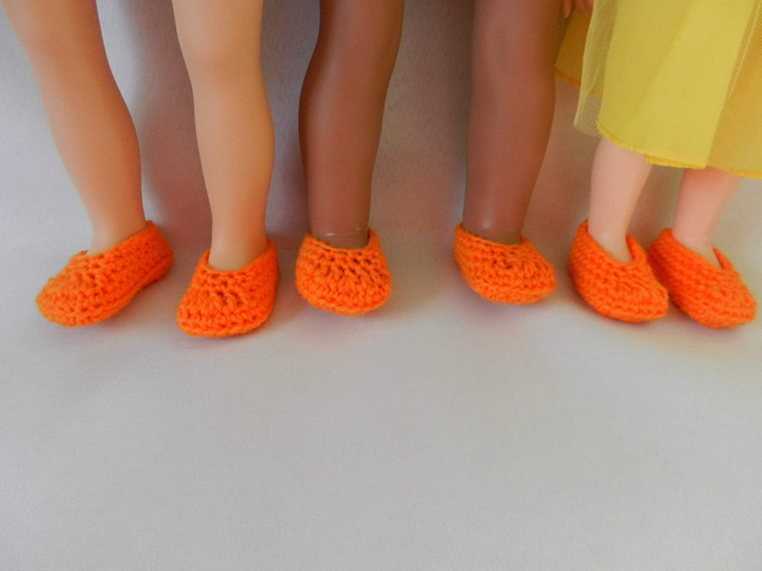 Orange Doll Slippers fit American Girl Disney Toddler Princess Baby Alive Journey Girls Our Generation and other 18 inch dolls.