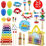 Bukm Kids Musical Instruments, Musical Toys for Toddlers, 25 Pcs Wooden Musical Percussion Instruments, Preschool Educational