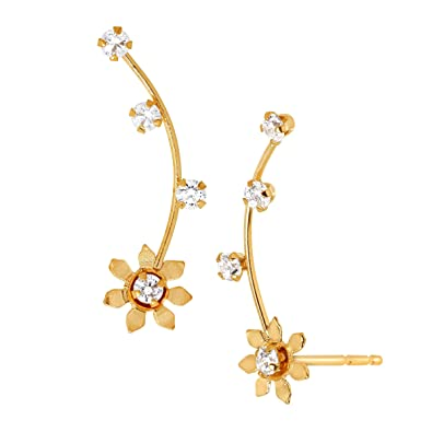 587b46521405e Amazon.com: Daisy Climber Stud Earrings with Cubic Zirconia in 14K ...