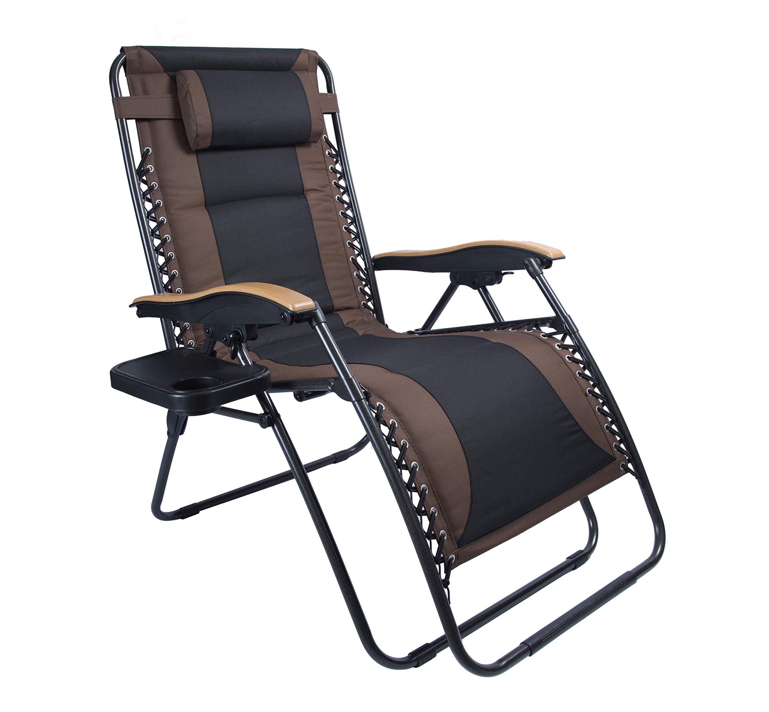 LUCKYBERRY Deluxe Oversized Padded Zero Gravity Chair XL Black Brown Cup Holder Lounge Patio Chairs Outdoor Yard Beach Support 350lbs by LUCKYBERRY (Image #1)