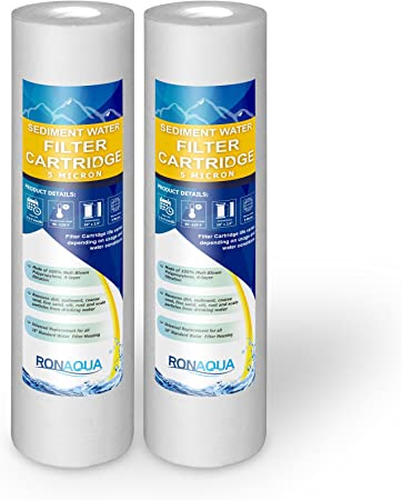 2-Pack Whole House Sediment Filtration WFPFC5002 Aquaboon 5 Micron 10 x 2.5 Grooved Sediment Water Filter Replacement Cartridge for Any 10 inch RO Unit Compatible with P5 CFS110 RS14 AP110